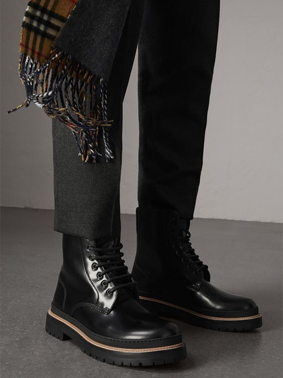 Lace-up Polished Leather Boots in Black - Men | Burberry - cell image 2