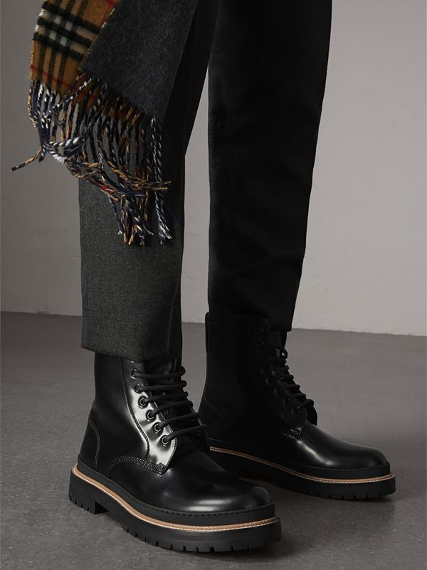 Lace-up Polished Leather Boots in Black - Men | Burberry United Kingdom - cell image 2