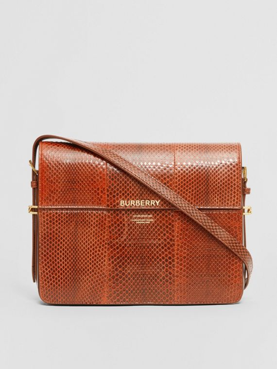 Large Snakeskin Grace Bag in Orange