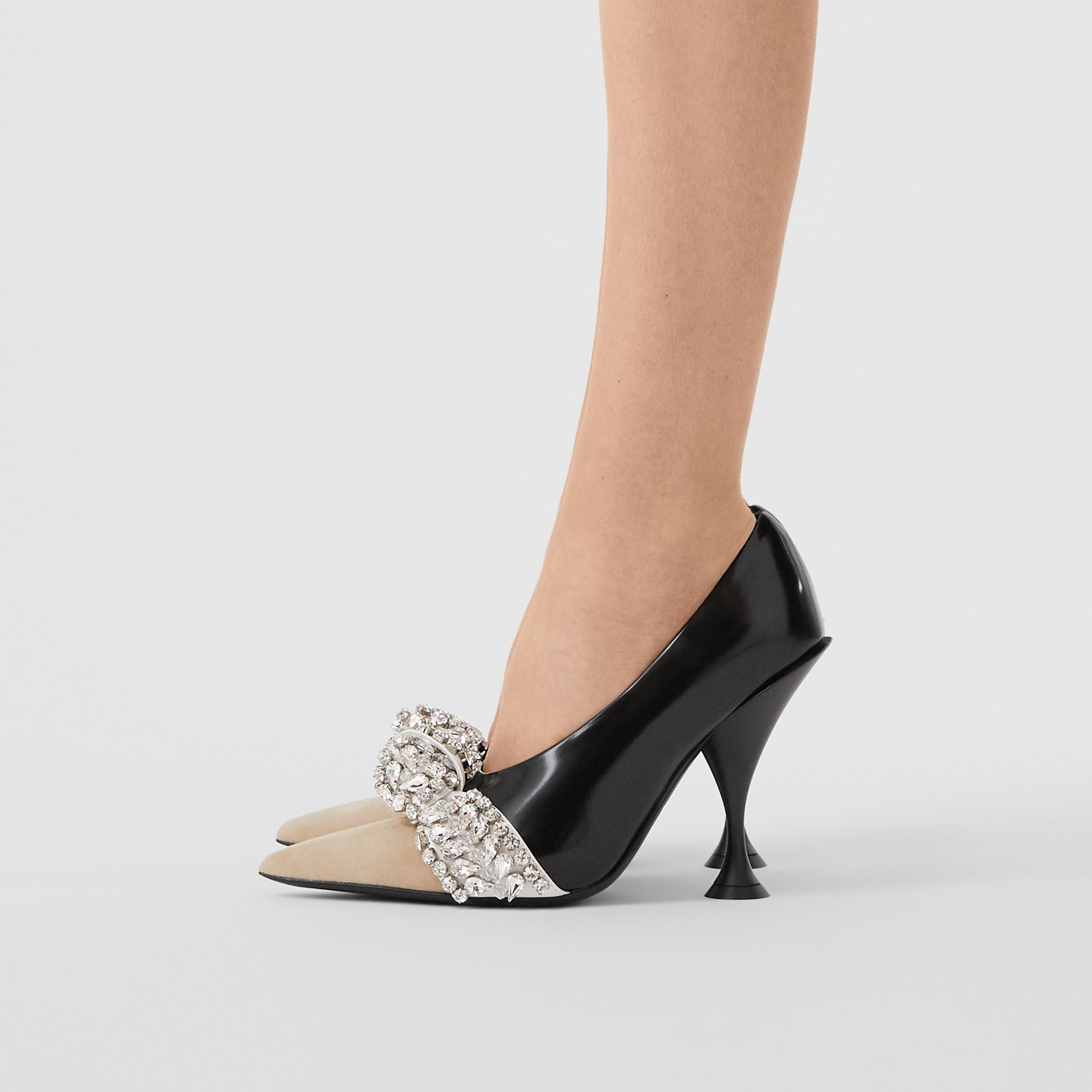 Crystal Detail Leather and Suede Point-toe Pumps in Black - Women | Burberry - 3