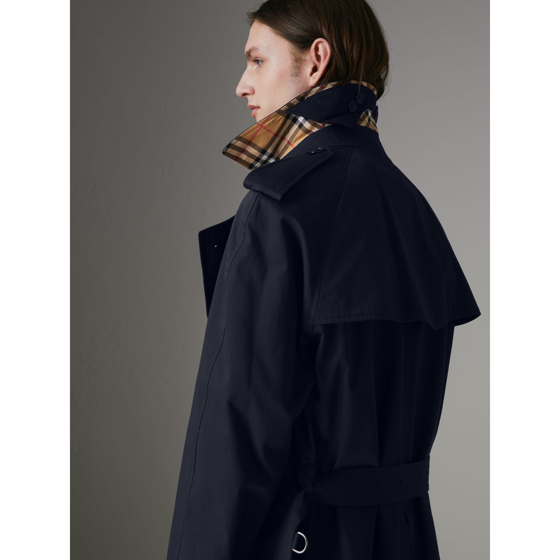 Painted Vintage Check-lined Gabardine Trench Coat in Ink Blue - Men | Burberry - gallery image 1
