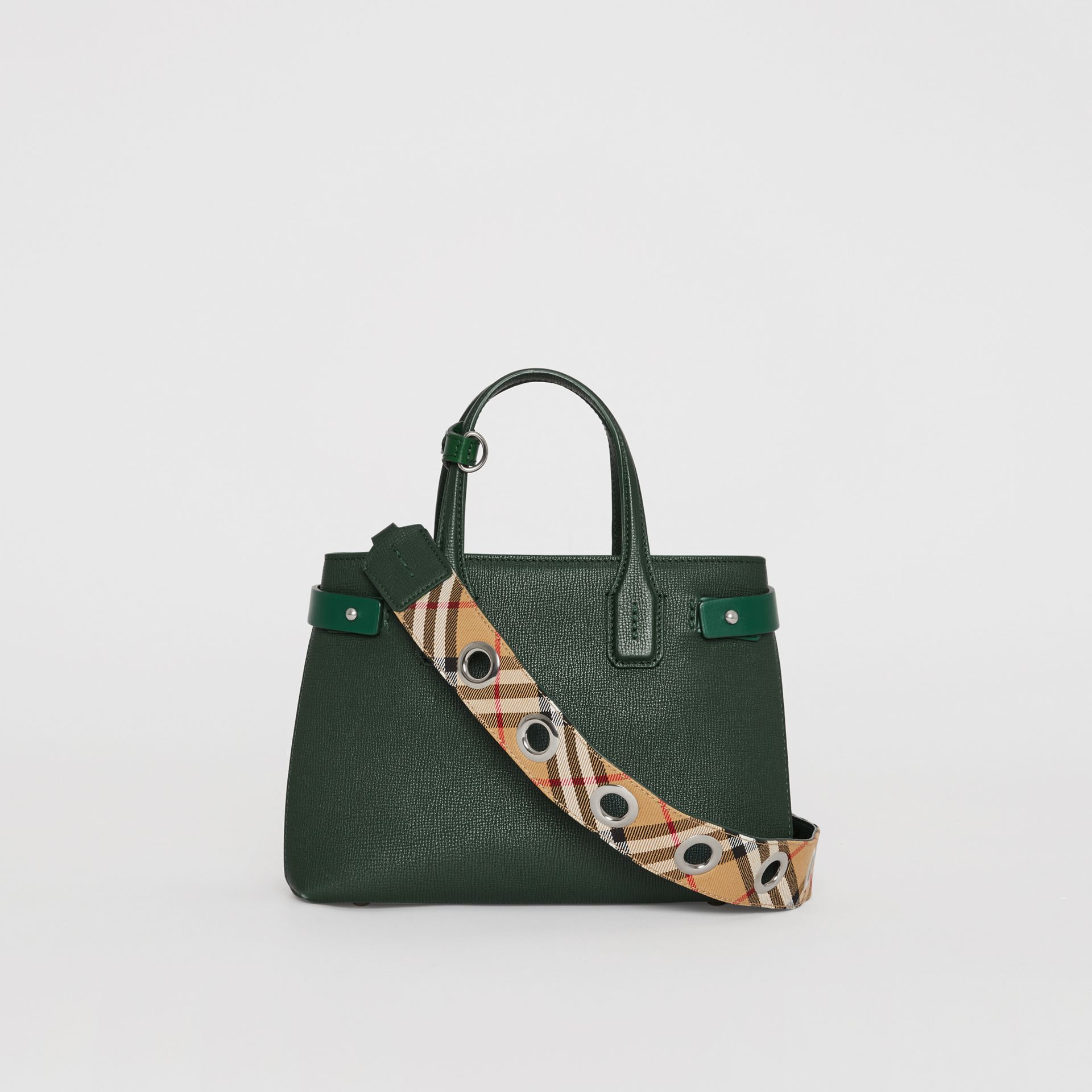 The Small Banner in Grainy Leather in Vintage Green - Women | Burberry - gallery image 7