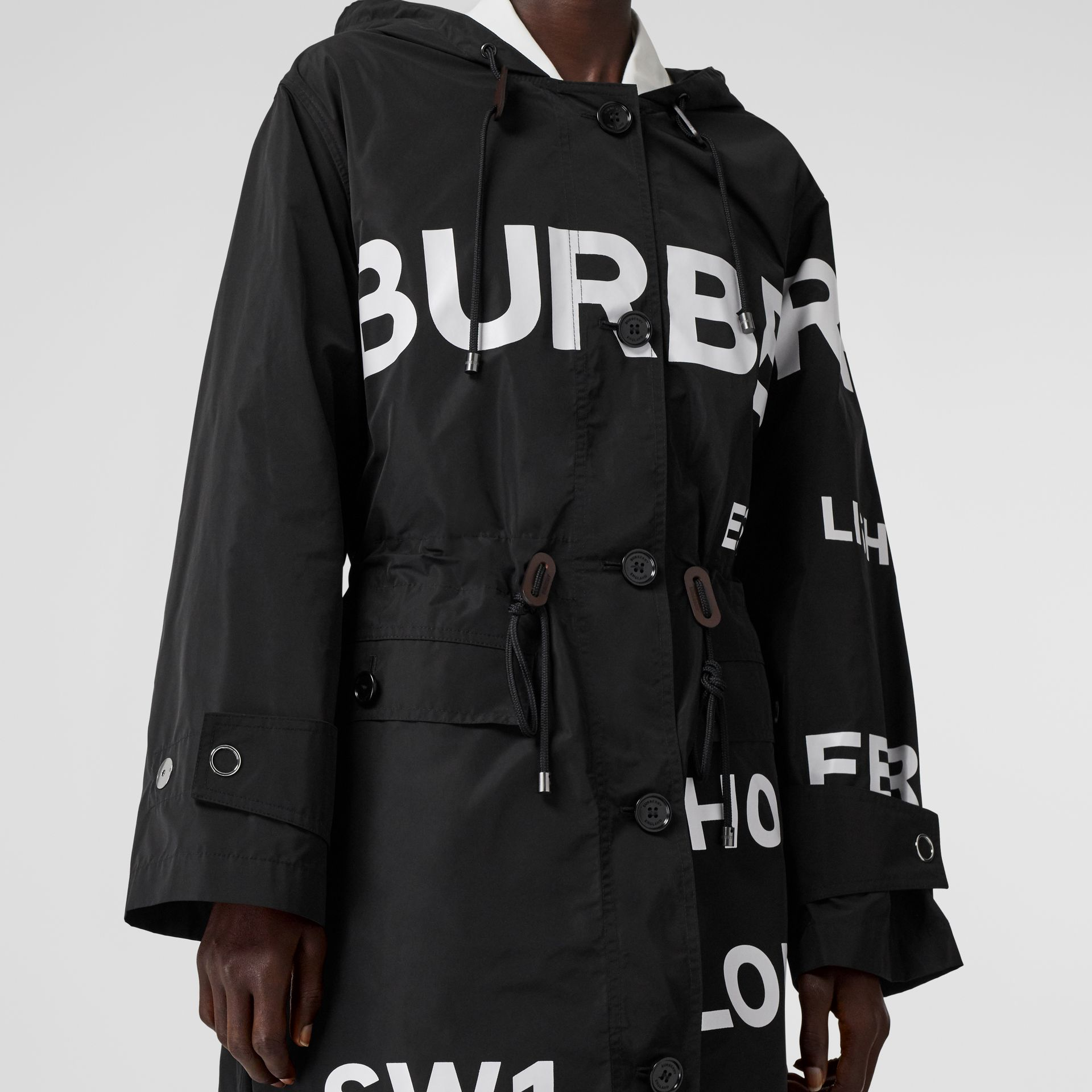 Horseferry Print Nylon Parka in Black - Women | Burberry - gallery image 4
