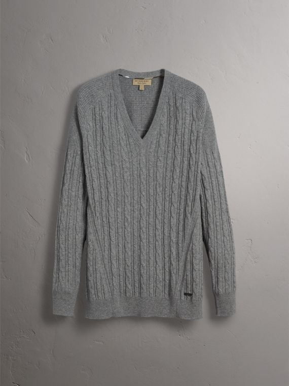 Cable and Rib Knit Cashmere V-neck Sweater in Mid Grey Melange - Men | Burberry - cell image 3