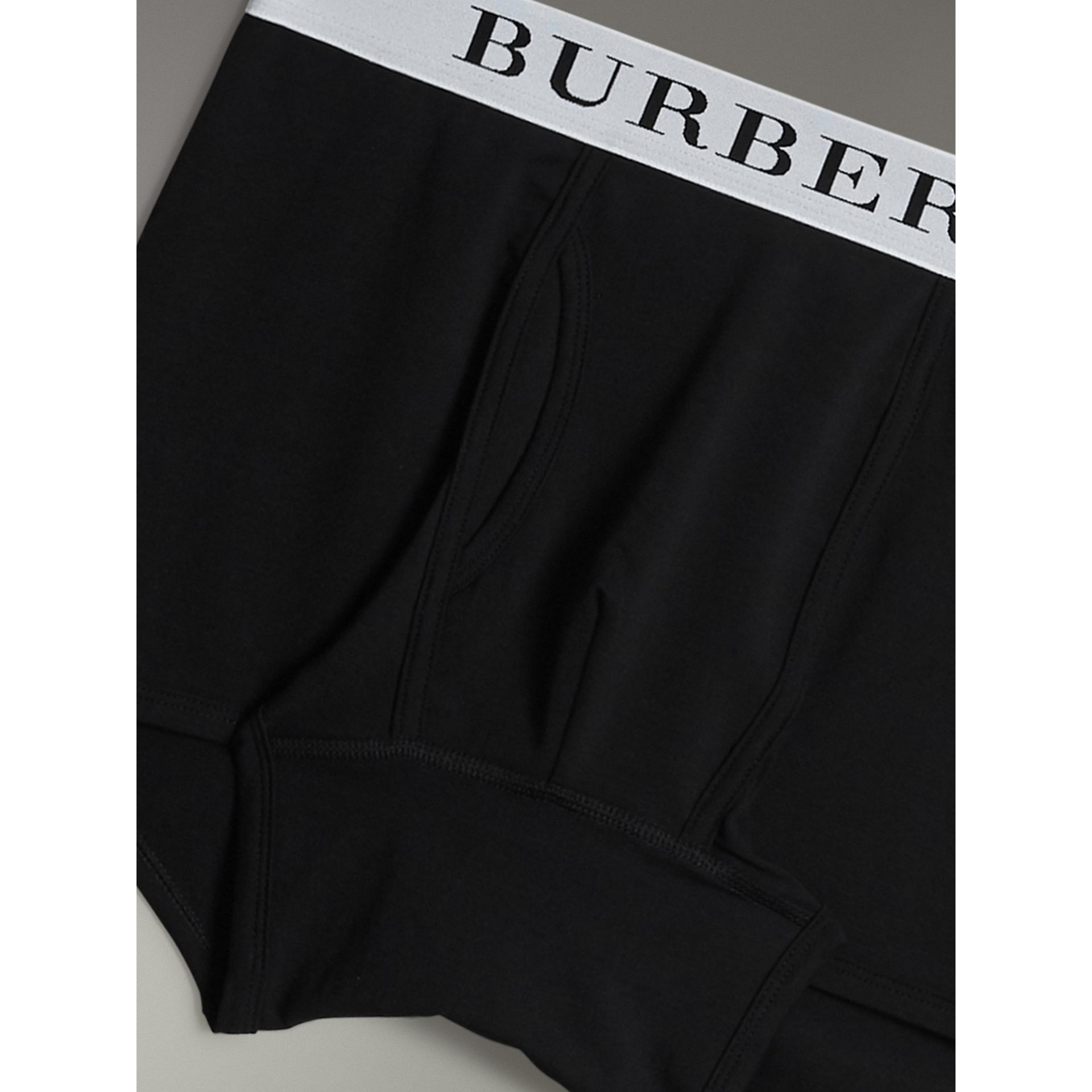 Stretch Cotton Boxer Shorts in Black - Men | Burberry - gallery image 1