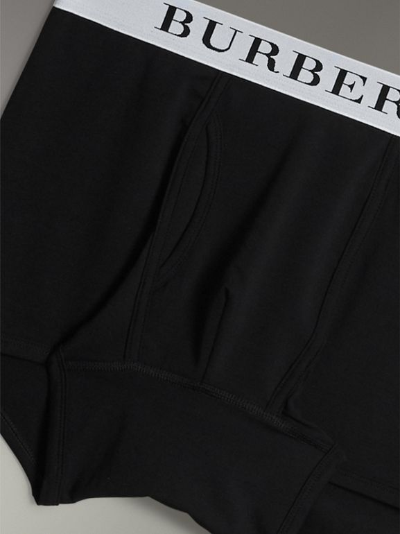 Stretch Cotton Boxer Shorts in Black - Men | Burberry - cell image 1
