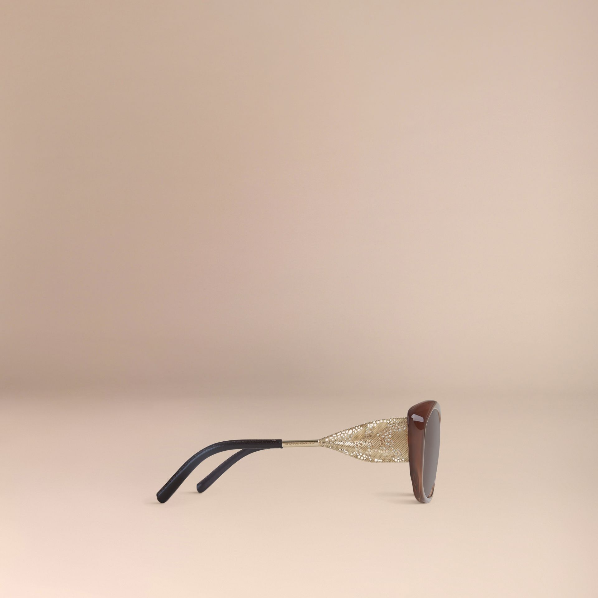 Dark amber Gabardine Lace Collection Square Frame Sunglasses Dark Amber - gallery image 4