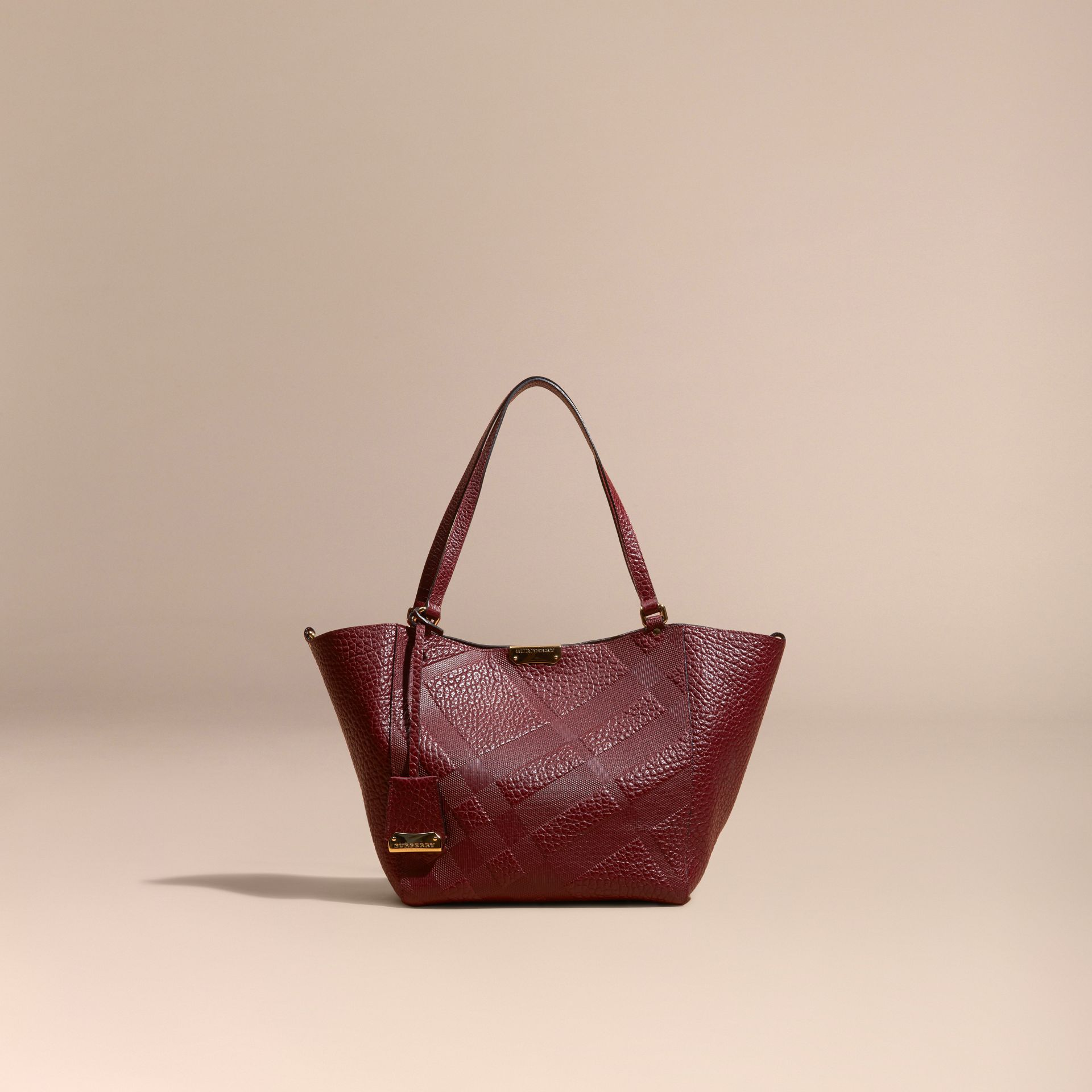 Deep red The Small Canter in Embossed Check Leather Deep Red - gallery image 8