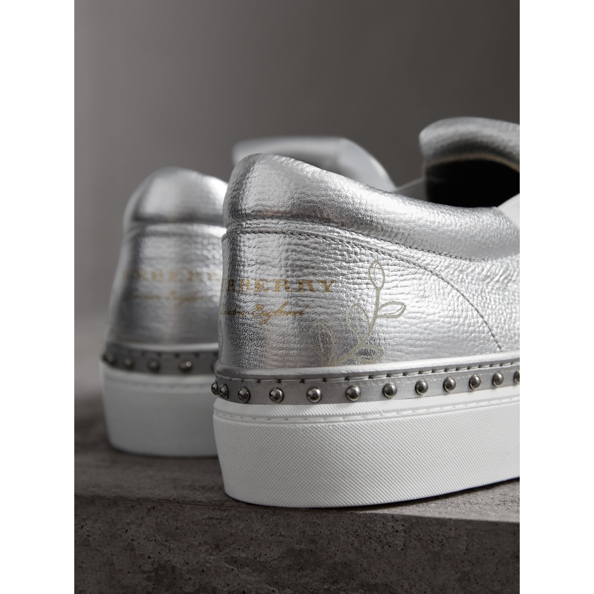 Kiltie Fringe Metallic Leather Trainers in Silver - Women | Burberry - gallery image 1