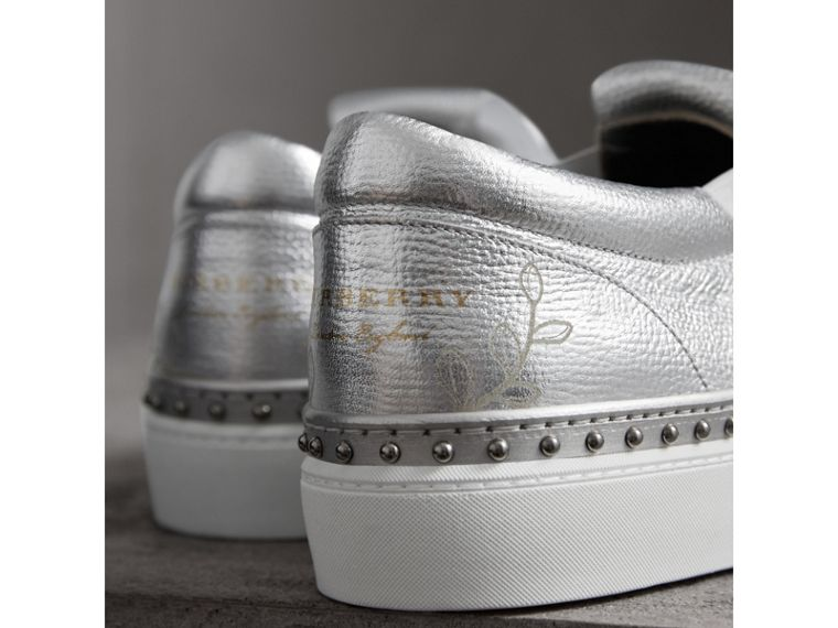 Kiltie Fringe Metallic Leather Trainers in Silver - Women | Burberry - cell image 1