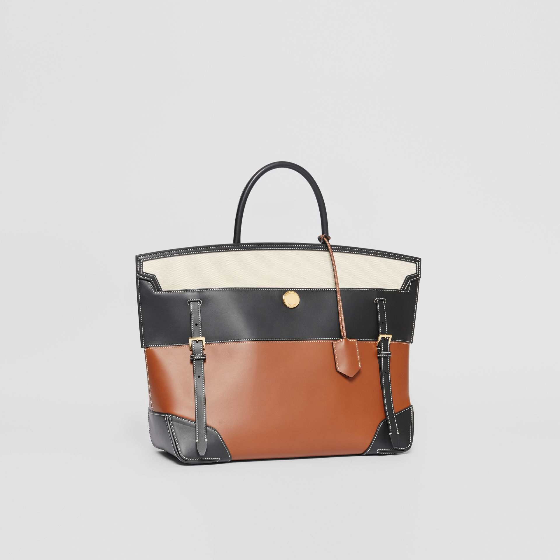 Tri-tone Leather and Canvas Society Top Handle Bag in Tan/black - Women | Burberry - gallery image 4