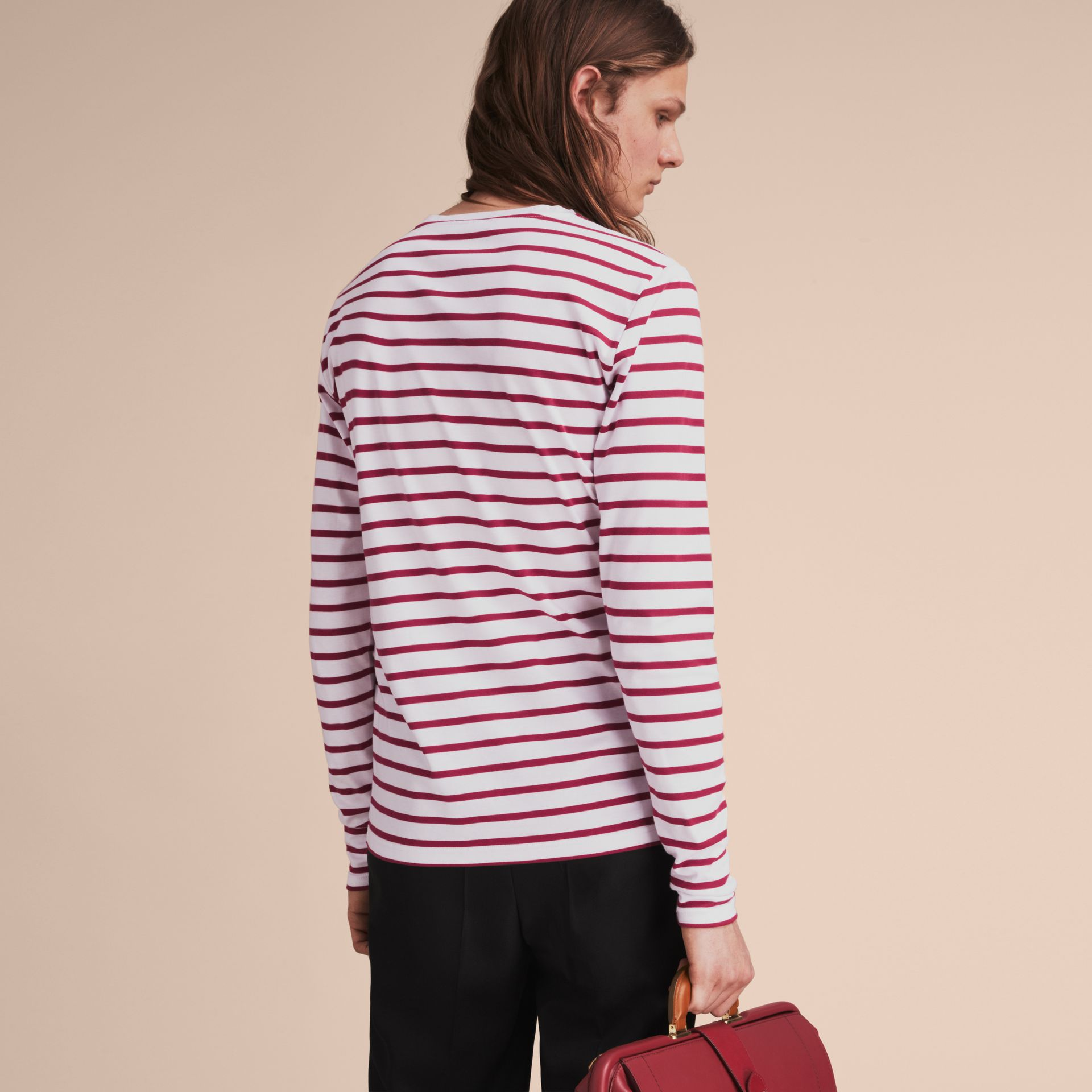 Unisex Pallas Heads Motif Breton Stripe Cotton Top - Men | Burberry - gallery image 5