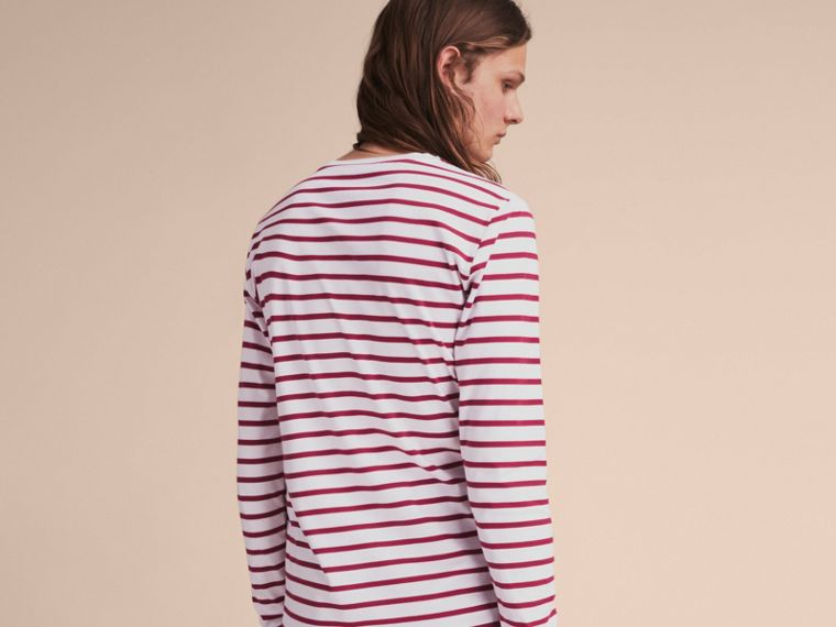 Unisex Pallas Heads Motif Breton Stripe Cotton Top in Parade Red - Men | Burberry - cell image 4