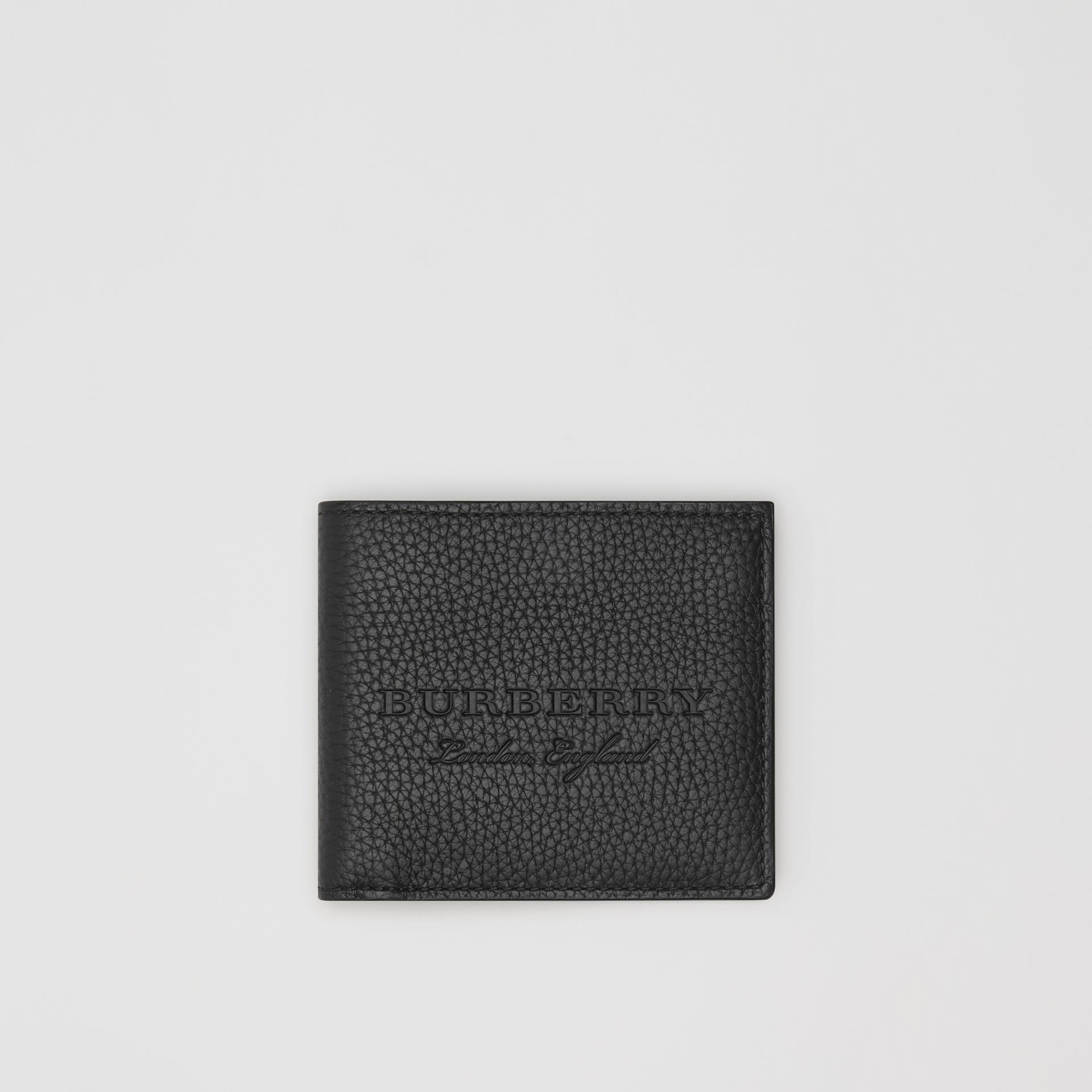 Embossed Leather Bifold Wallet in Black - Men | Burberry Australia - gallery image 0