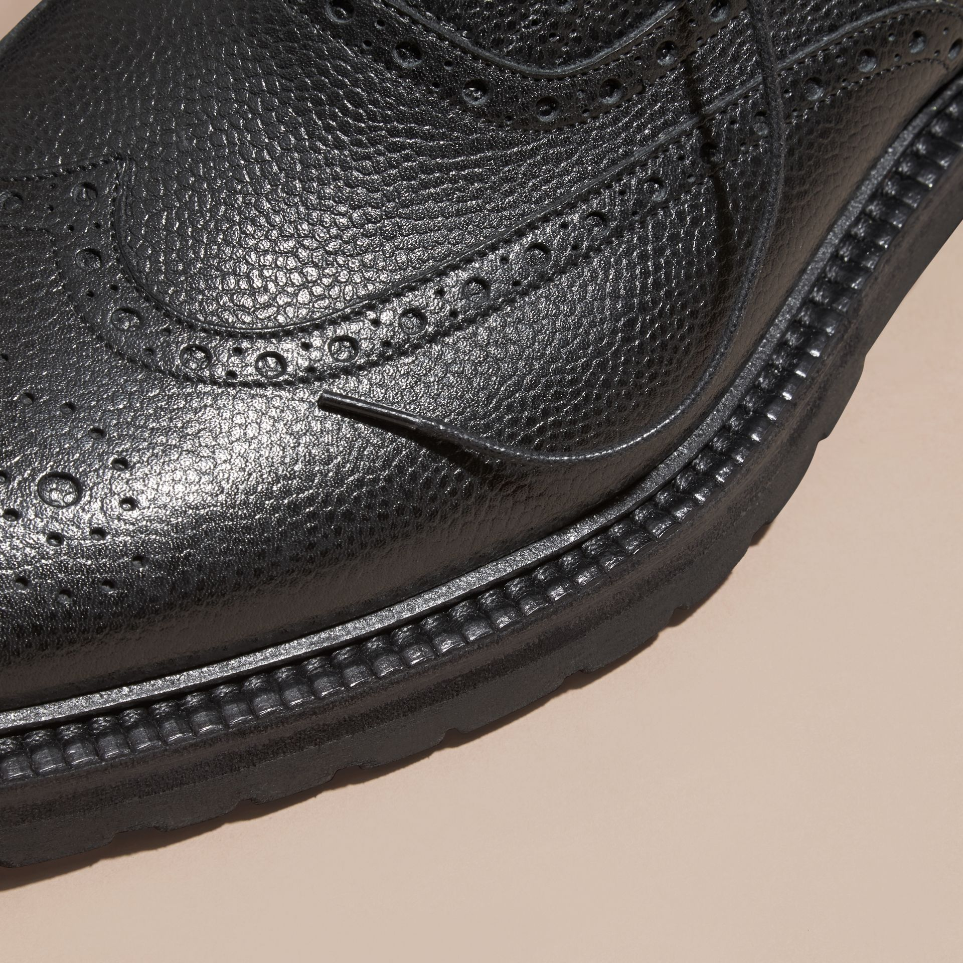 Black Grainy Leather Wingtip Brogue with Rubber Sole Black - gallery image 2
