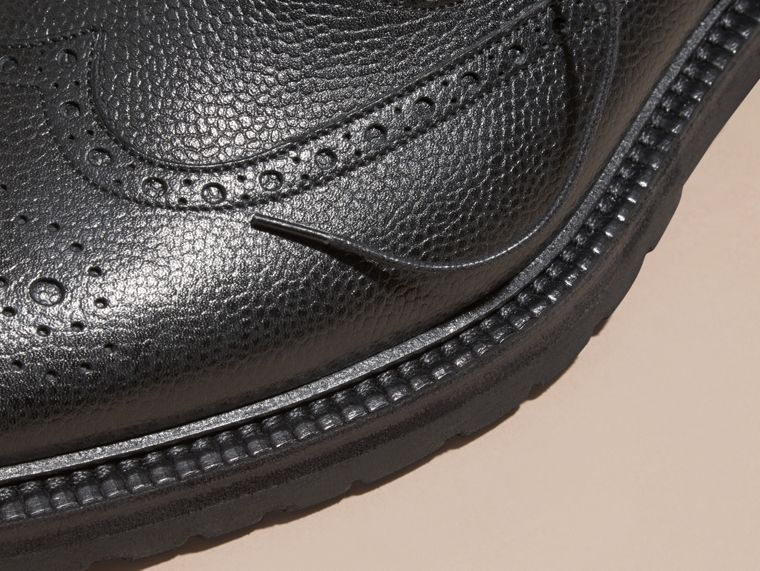 Black Grainy Leather Wingtip Brogue with Rubber Sole Black - cell image 1