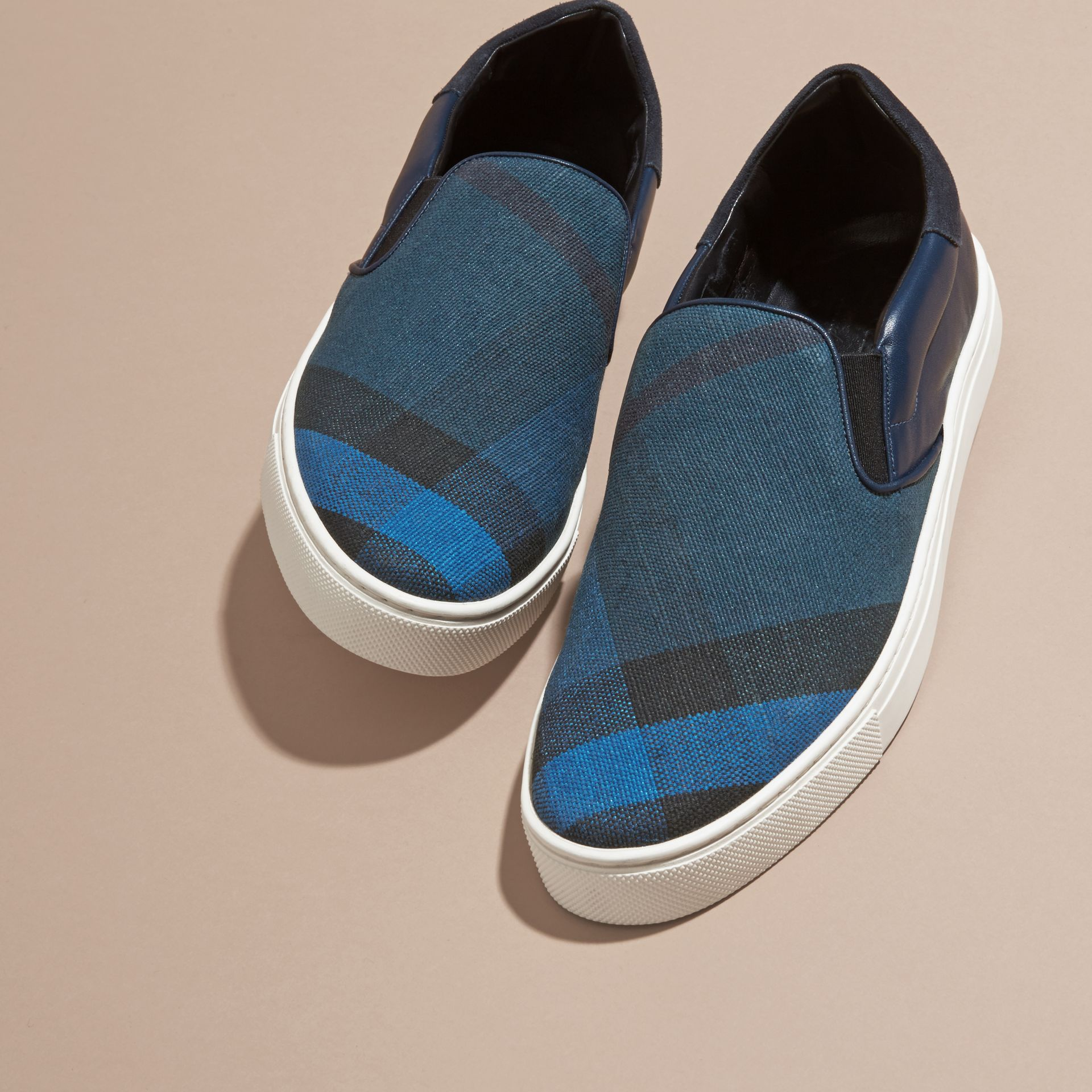 Ultramarine blue/blk Canvas Check and Leather Slip-on Trainers Ultramarine Blue/blk - gallery image 3