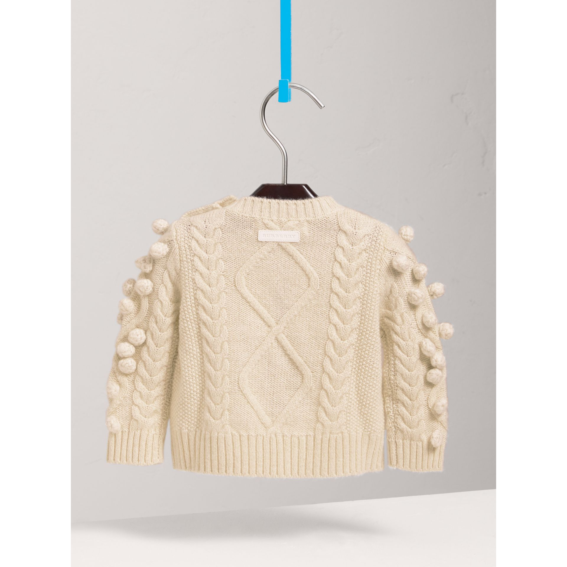 Bobble Cable Knit Cashmere Lurex Blend Sweater in Natural White | Burberry - gallery image 3