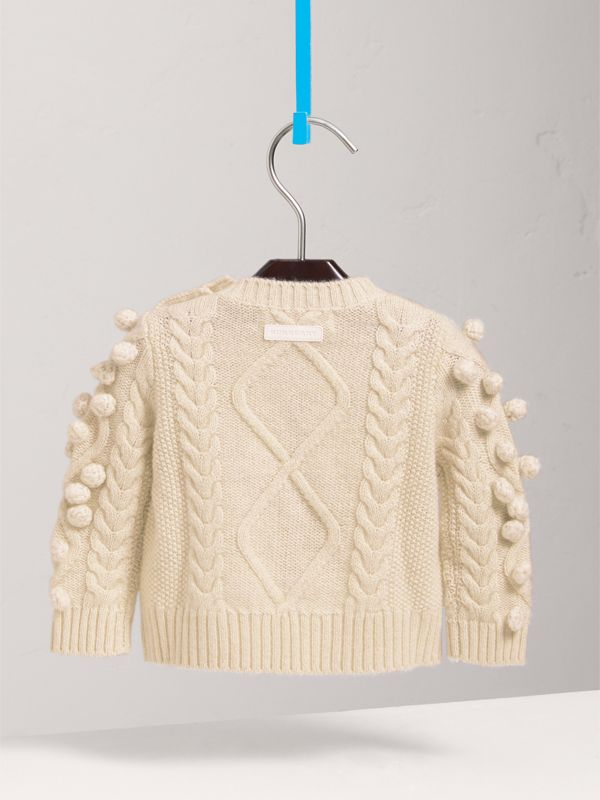 Bobble Cable Knit Cashmere Lurex Blend Sweater in Natural White | Burberry - cell image 3
