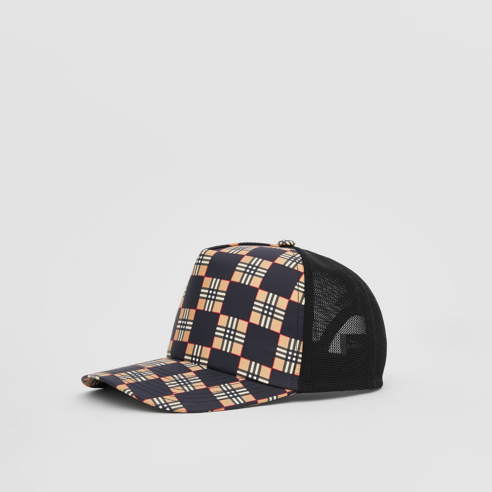 Chequer ECONYL® and Mesh Baseball Cap in Black/archive Beige | Burberry United Kingdom - gallery image 4
