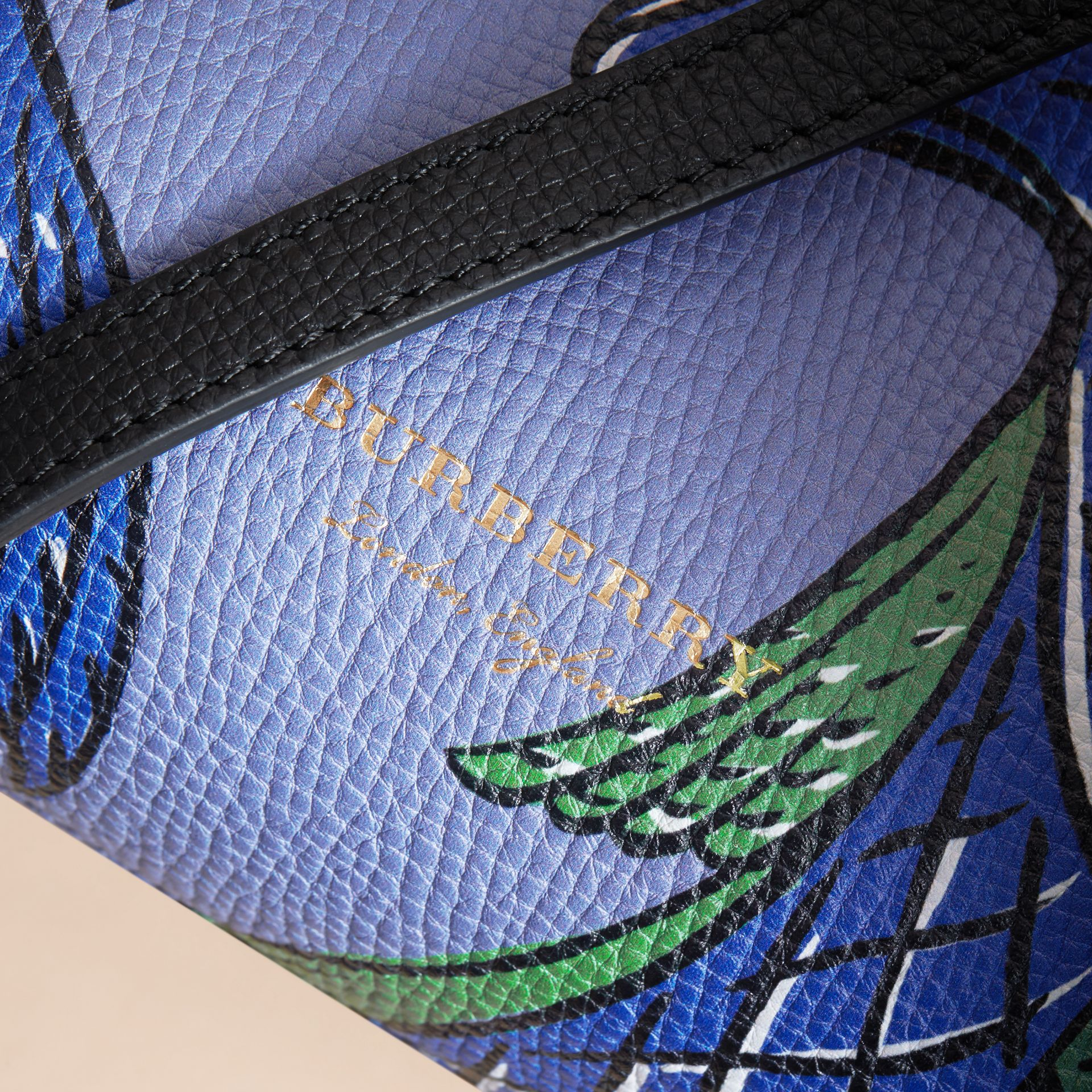 The Small Banner in Beasts Print Leather in Black - Women | Burberry - gallery image 2