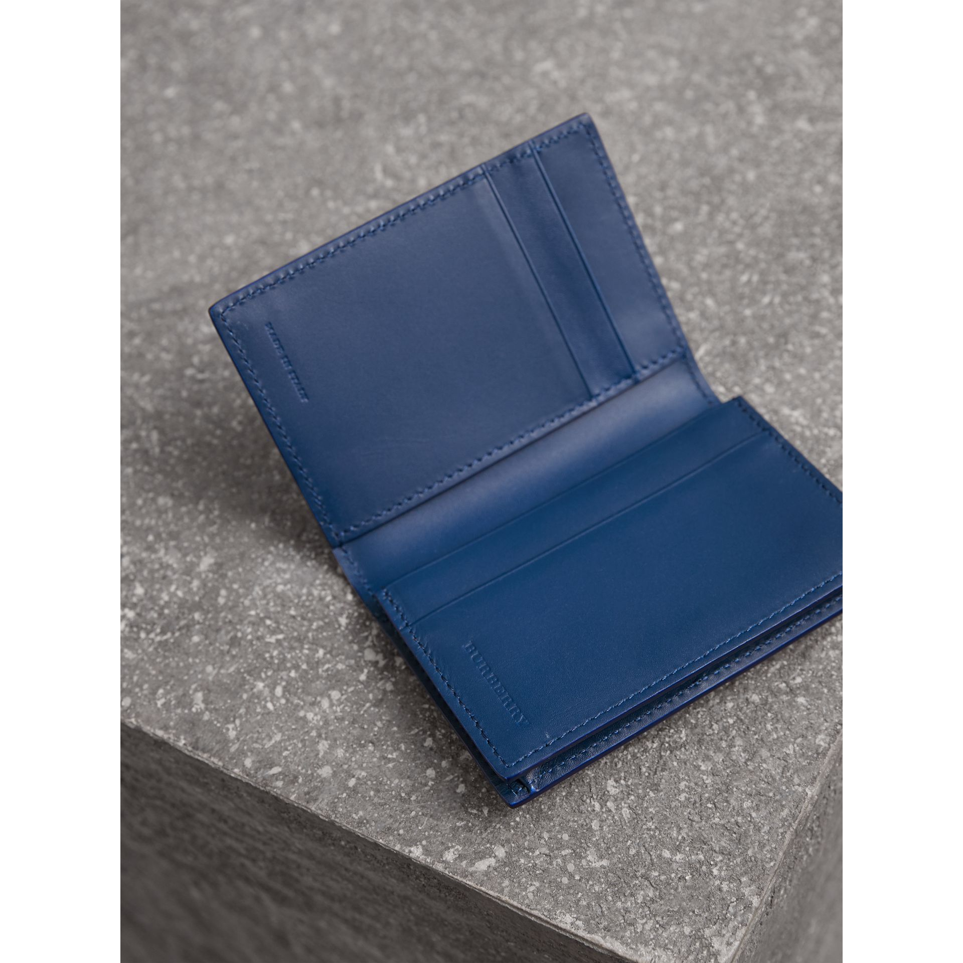 London Leather Folding Card Case in Deep Blue | Burberry - gallery image 3