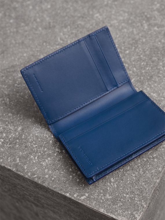 London Leather Folding Card Case in Deep Blue | Burberry Canada - cell image 3