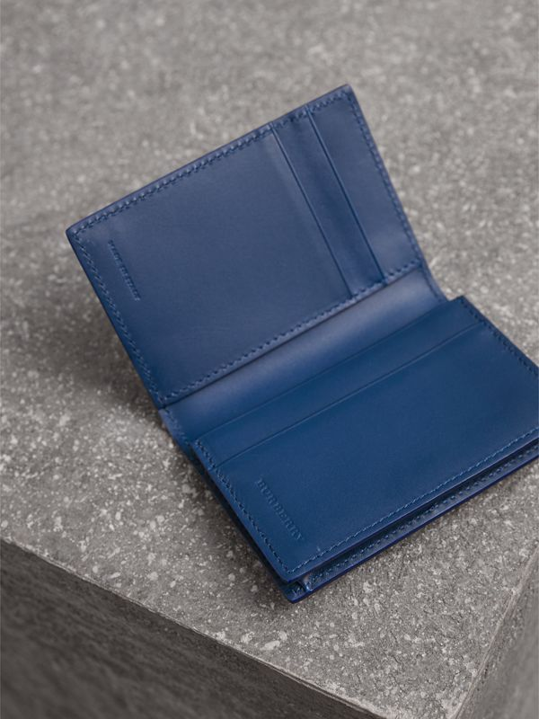 London Leather Folding Card Case in Deep Blue | Burberry - cell image 3