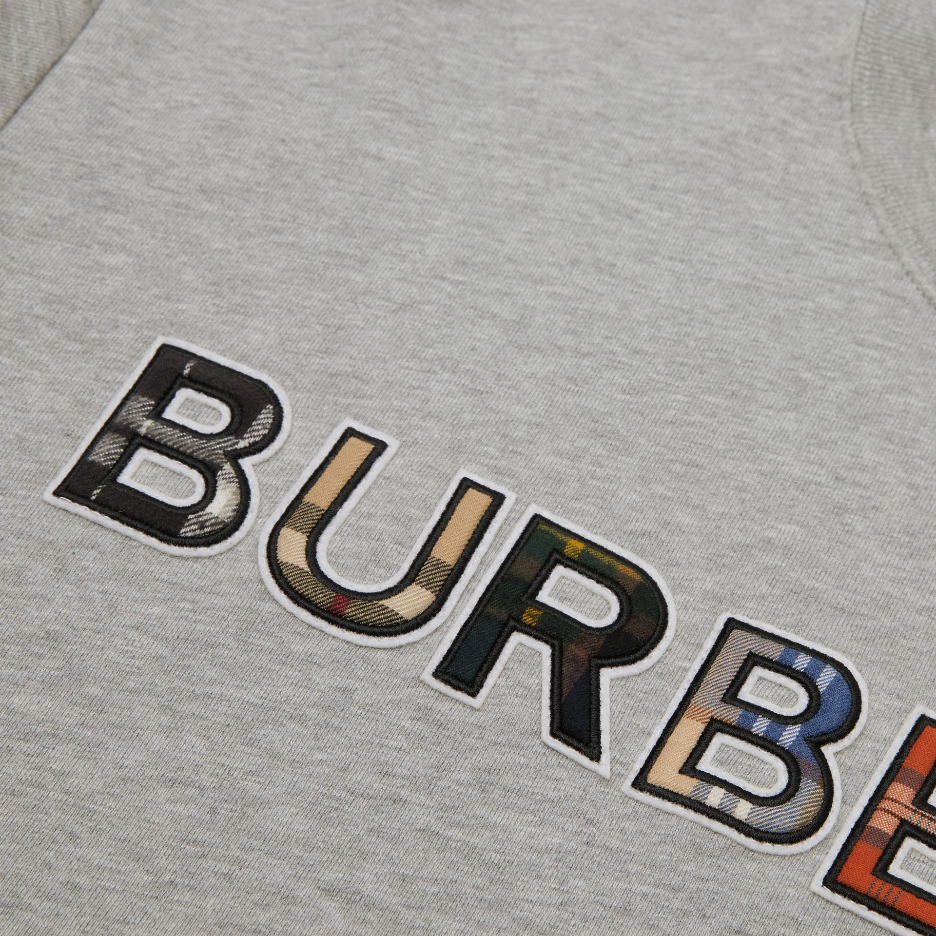 Check Logo Cotton Sweatshirt in Grey Melange | Burberry - gallery image 1