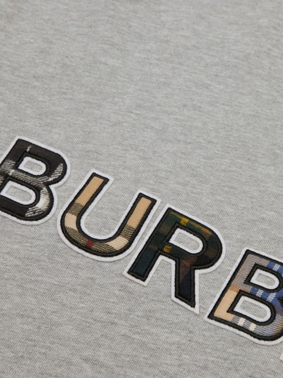 Check Logo Cotton Sweatshirt in Grey Melange | Burberry - cell image 1
