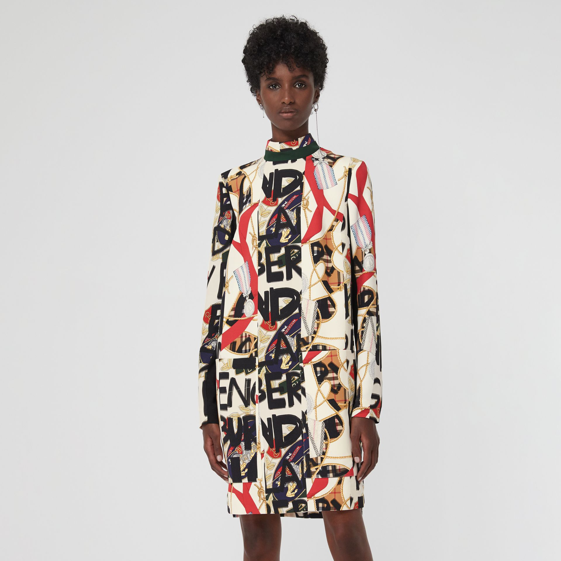 Graffiti Archive Scarf Print Silk Wool Shift Dress in Stone - Women | Burberry Canada - gallery image 4