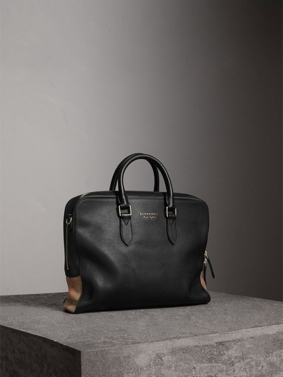 Leather and House Check Briefcase in Black
