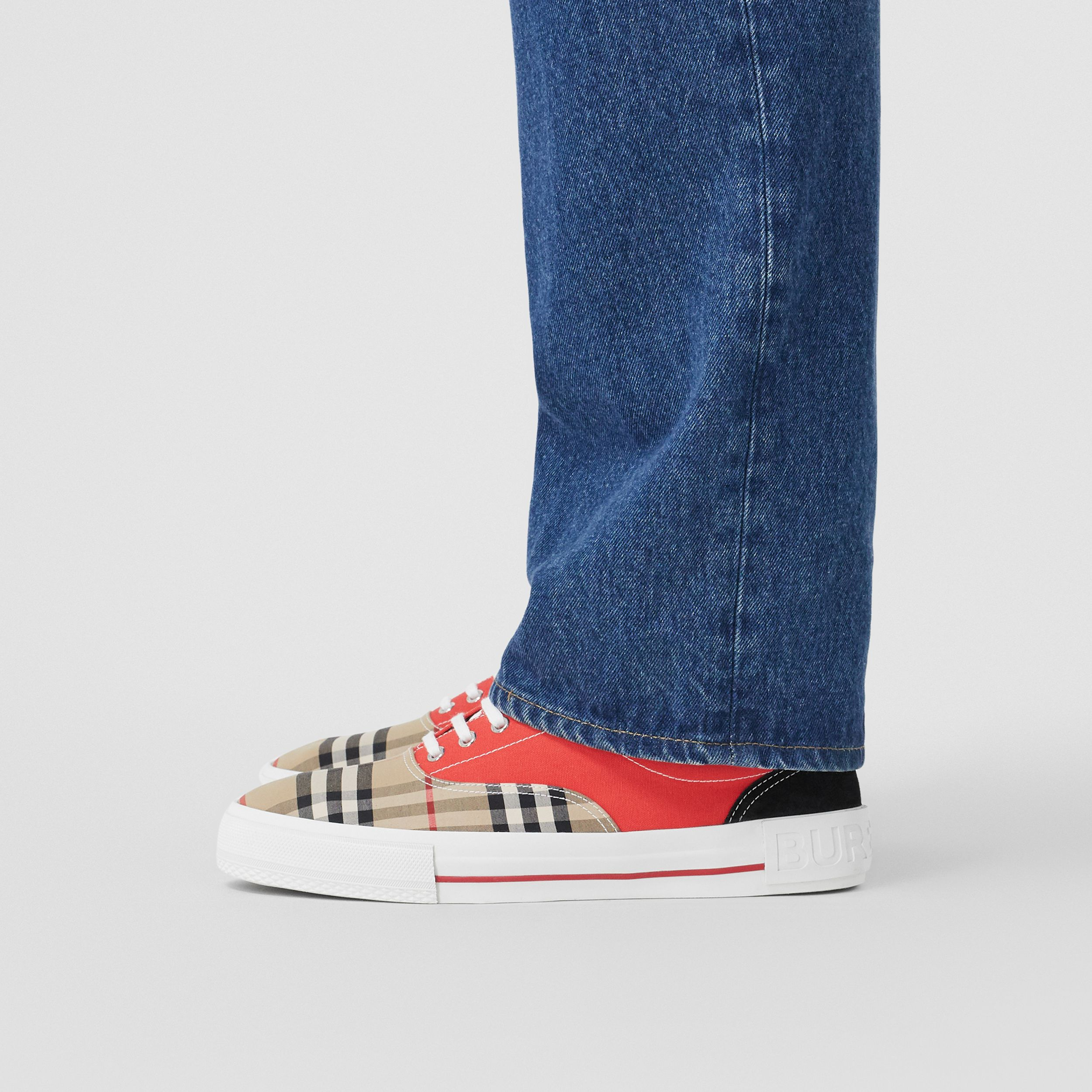 Vintage Check, Cotton Canvas and Suede Sneakers in Archive Beige/red - Men | Burberry - 3