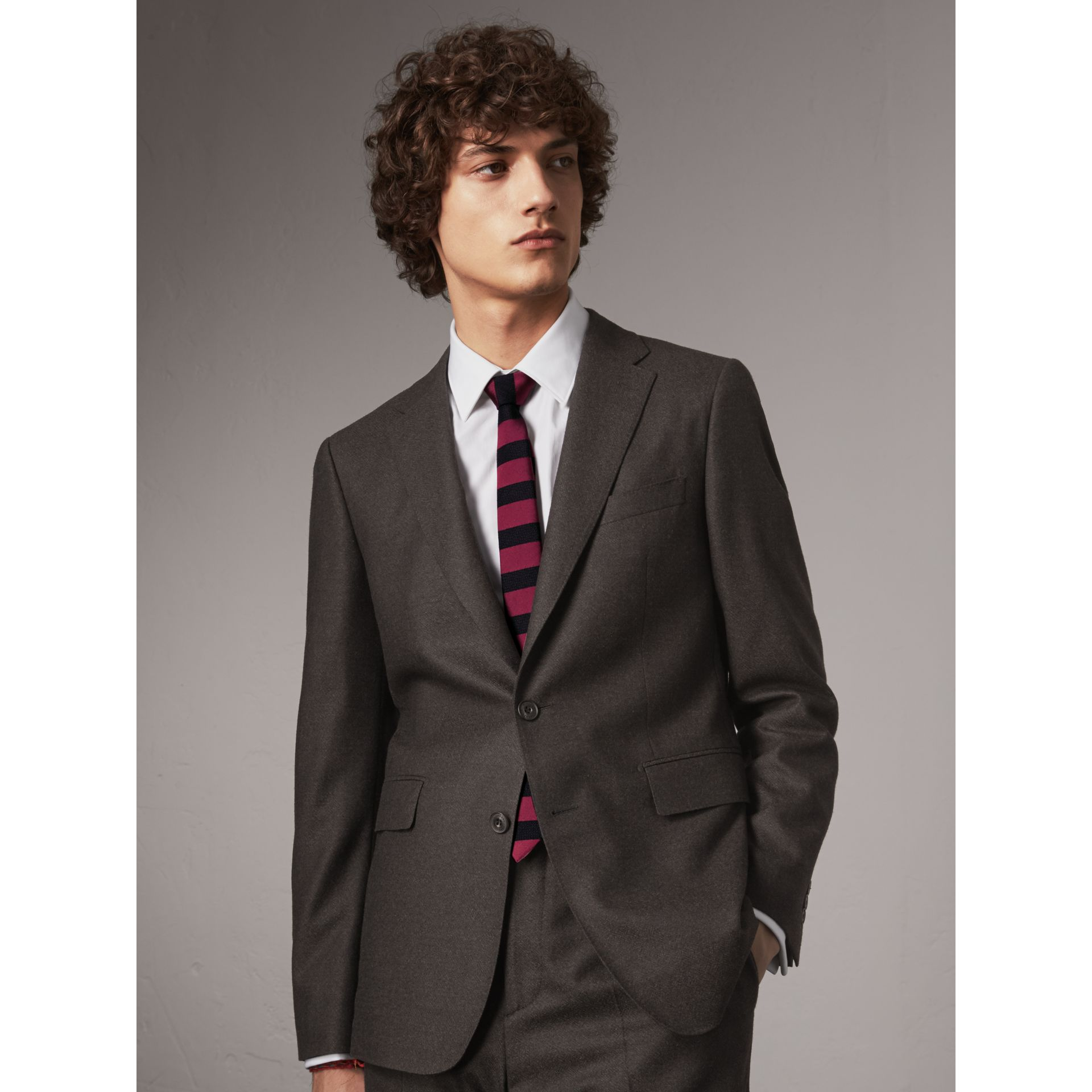 Slim Cut Striped Silk Wool Tie in Plum Pink - Men | Burberry Singapore - gallery image 3