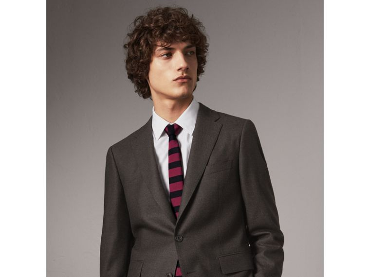 Slim Cut Striped Silk Wool Tie in Plum Pink - Men | Burberry United Kingdom - cell image 2