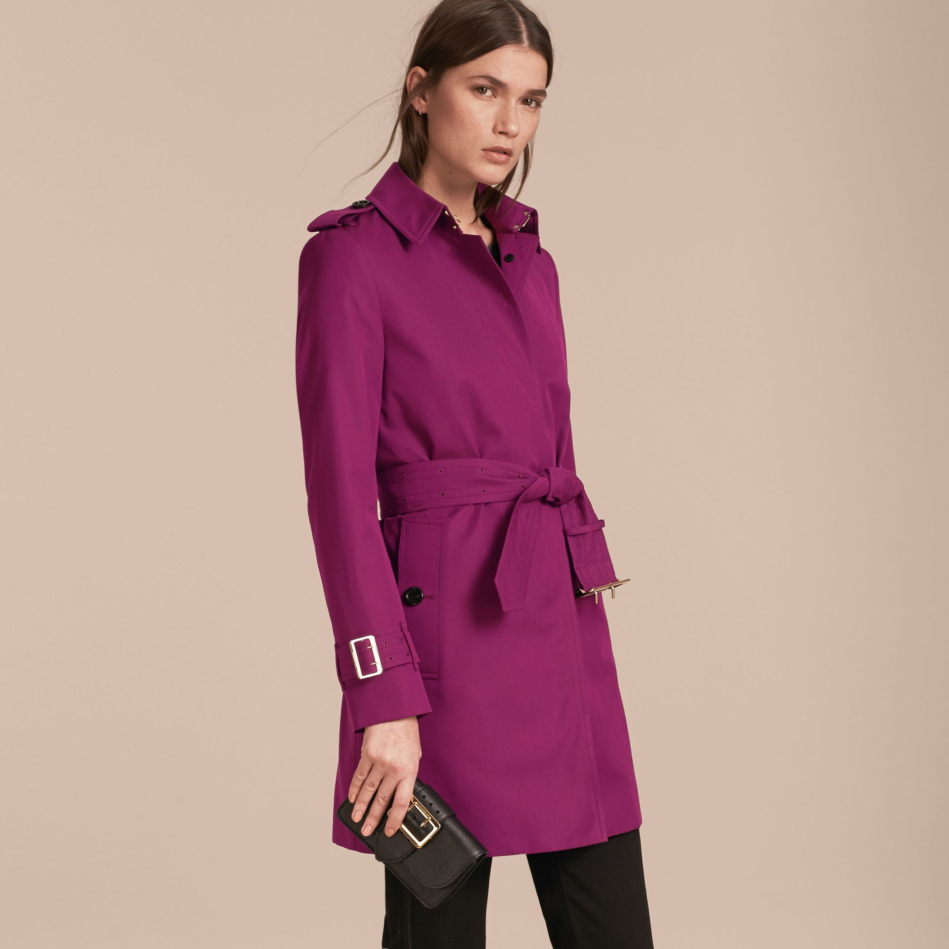 Single-breasted Trench Coat with Metal Buckle Detail Magenta Pink - gallery image 7