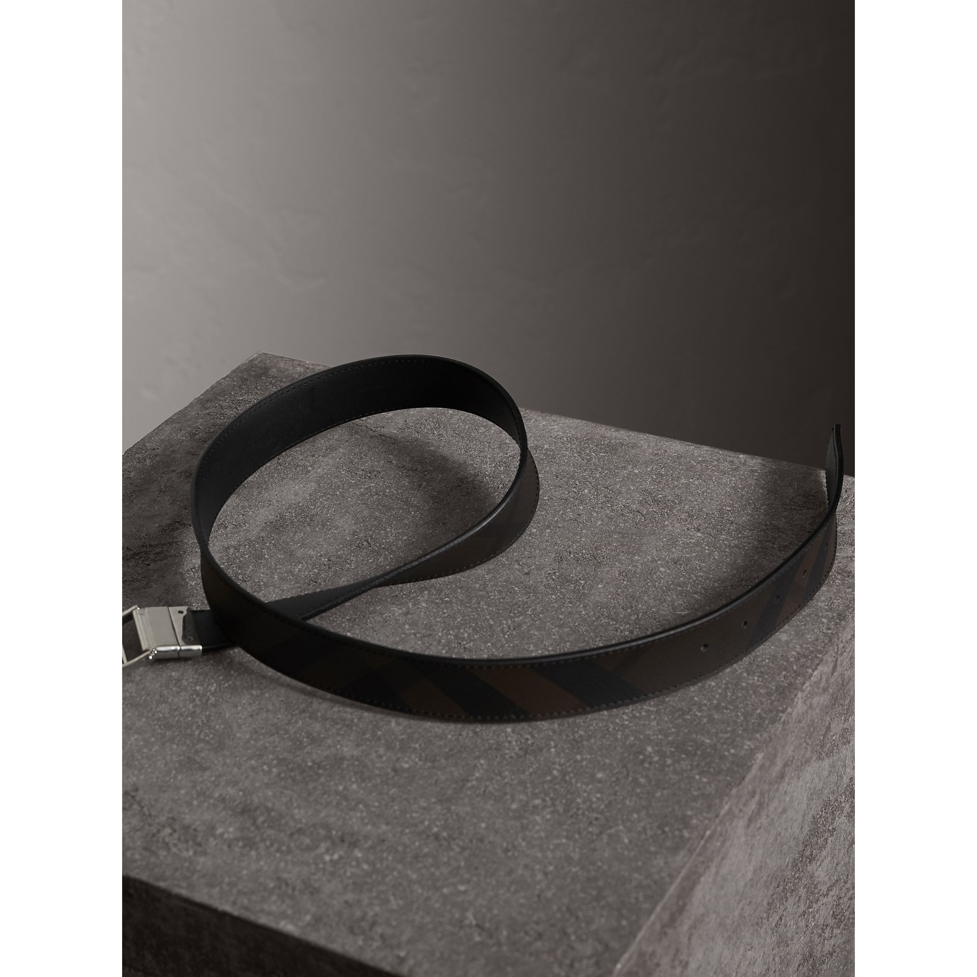Reversible London Check and Leather Belt in Black - Men | Burberry - gallery image 5