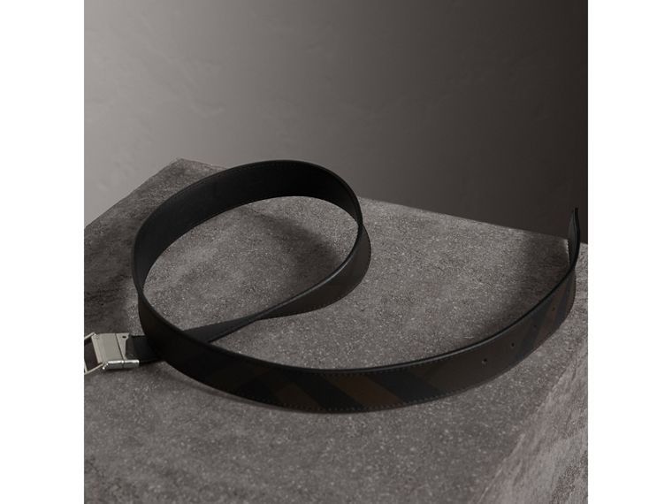 Reversible London Check and Leather Belt in Black - Men | Burberry - cell image 4