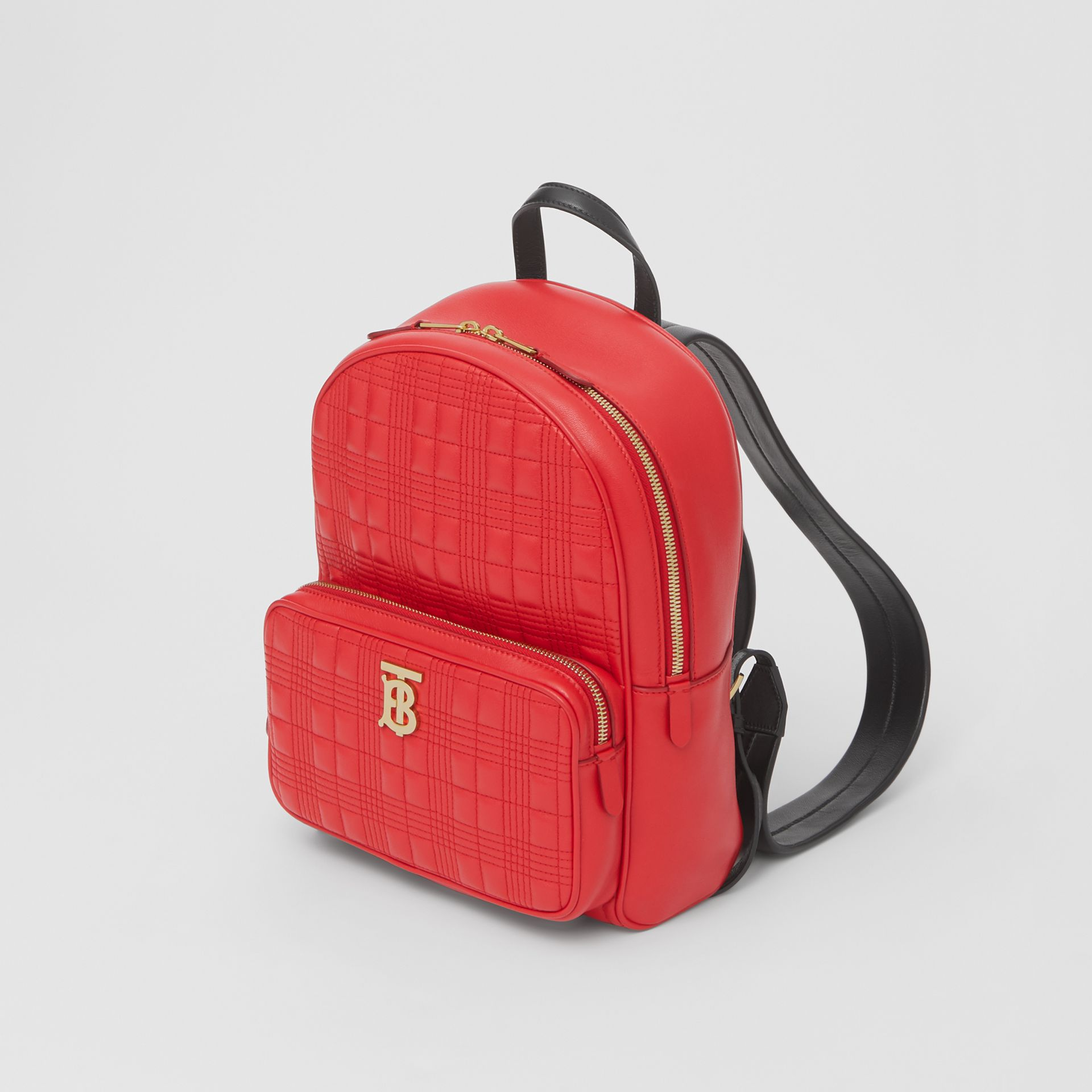 Quilted Lambskin Backpack in Bright Red | Burberry - gallery image 4