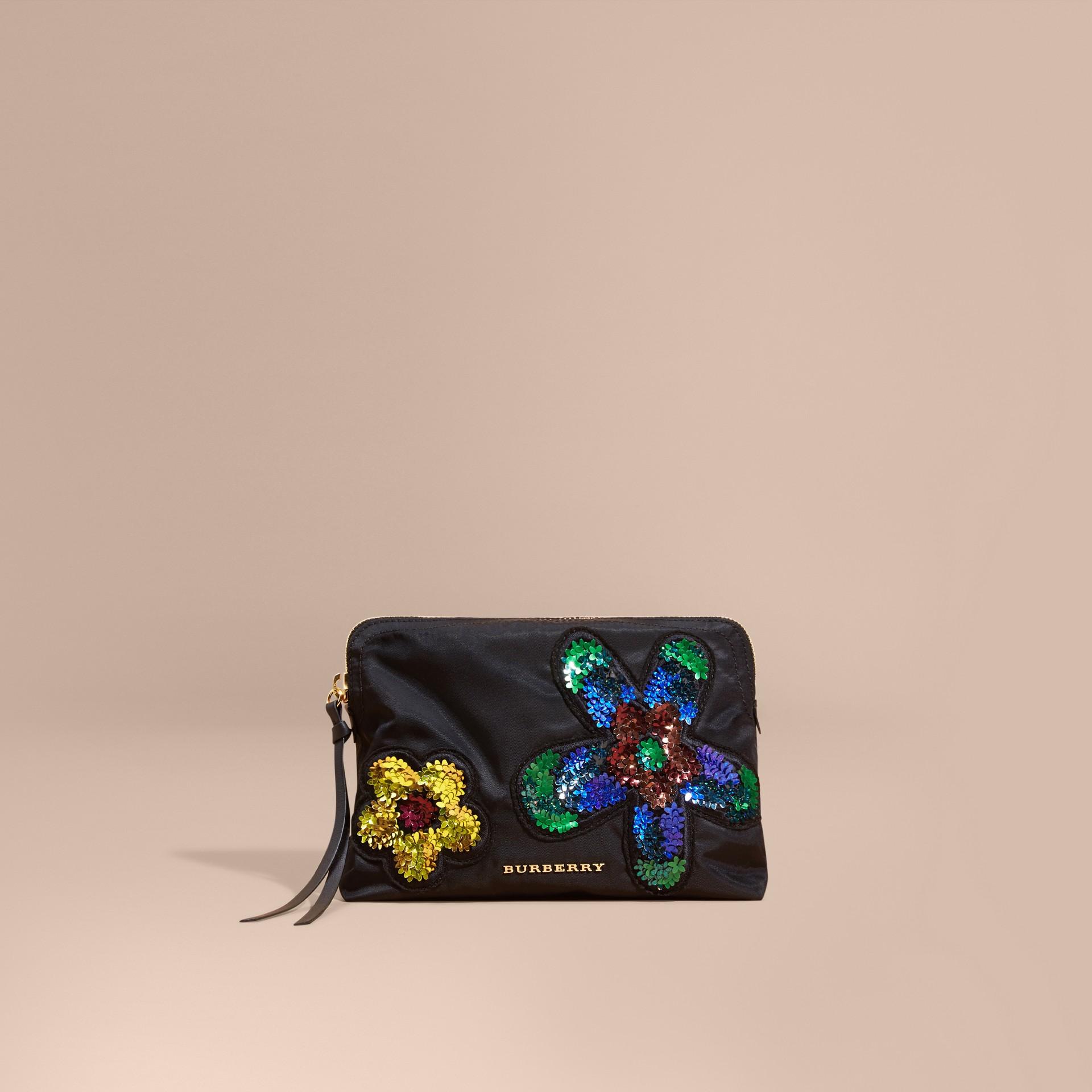 Noir Grande pochette zippée à fleurs - photo de la galerie 8