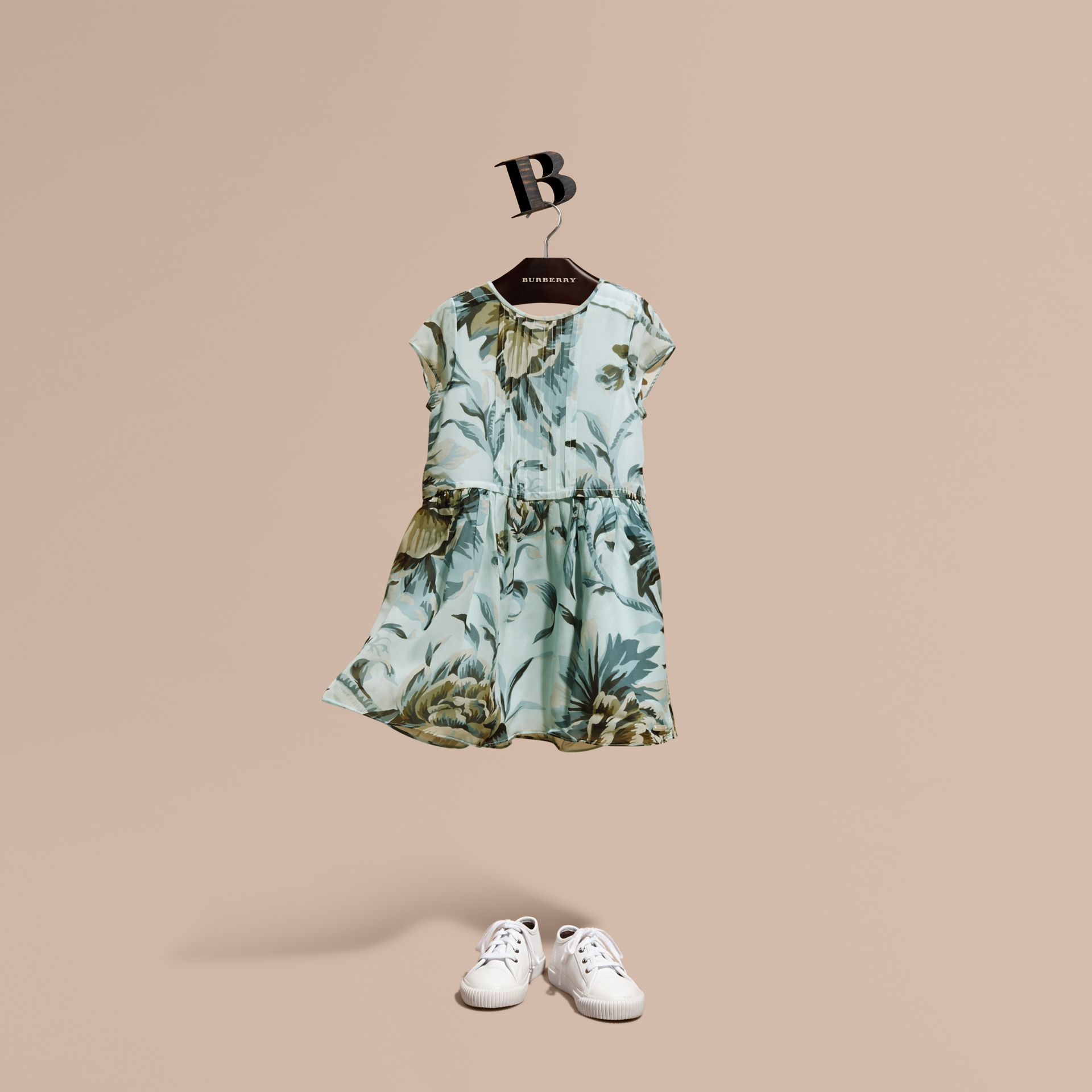 Peony Rose Print Silk Dress in Celadon Blue - gallery image 1