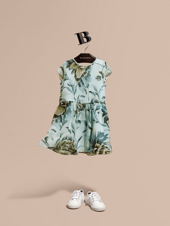 Peony Rose Print Silk Dress Celadon Blue