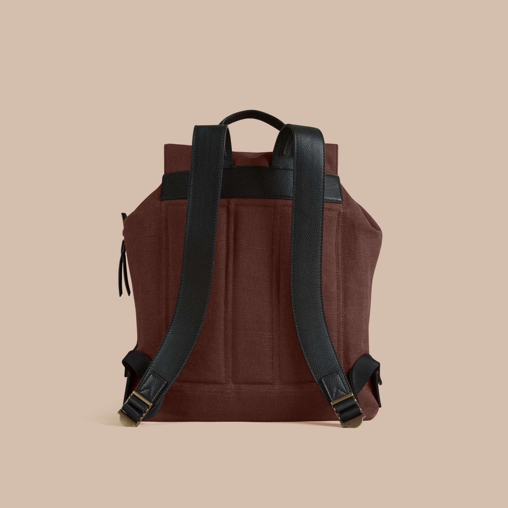 Claret Overdyed Canvas Check Backpack Claret - gallery image 5