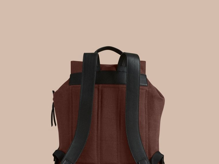 Claret Overdyed Canvas Check Backpack Claret - cell image 4