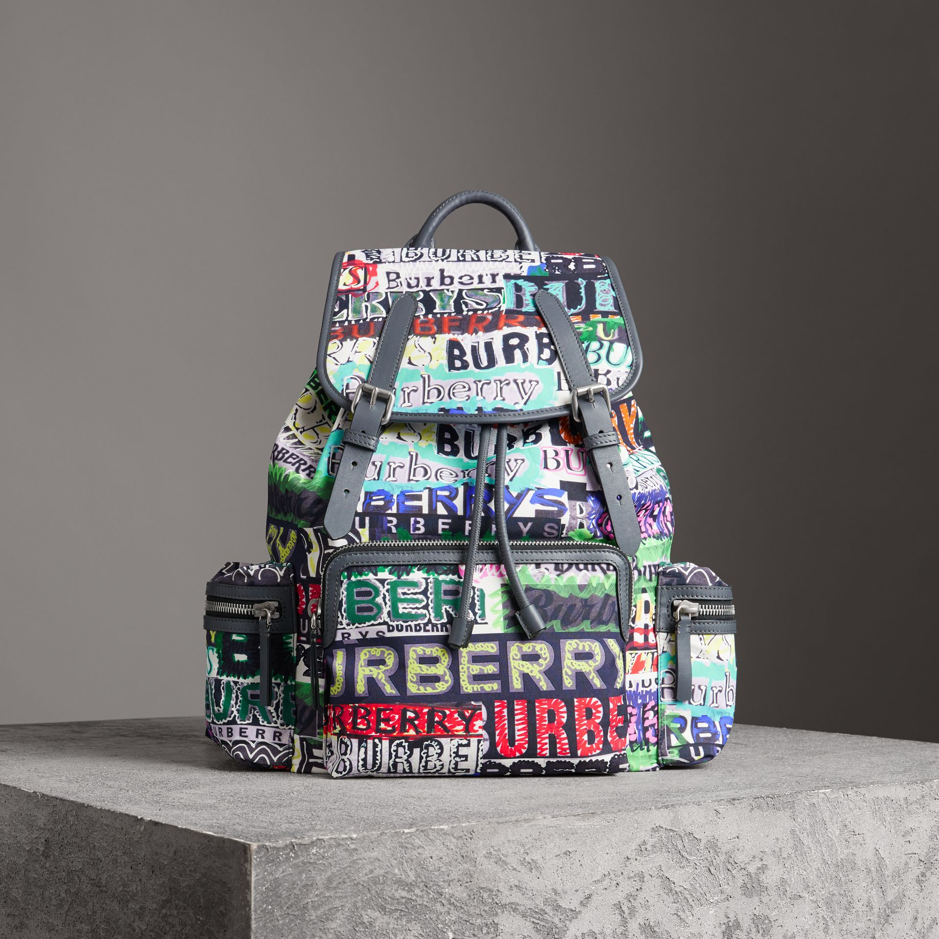 The Large Rucksack in Graffiti Logo Print in Multicolour | Burberry - gallery image 8