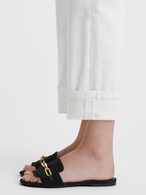 Link Detail Satin and Leather Slides in Black - Women | Burberry Singapore - cell image 2