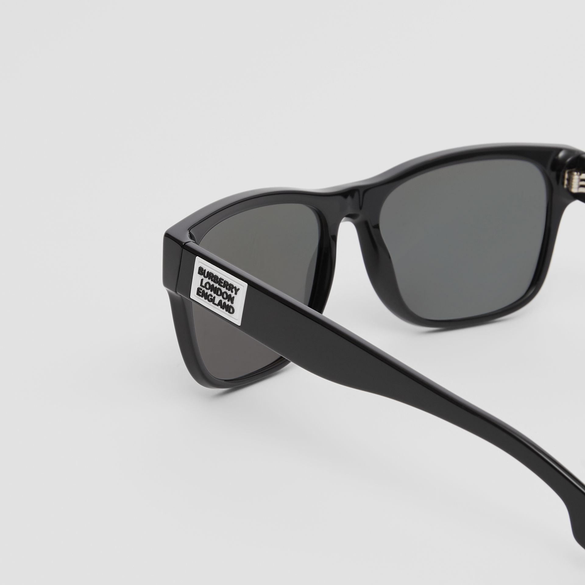 Logo Appliqué Square Frame Sunglasses in Black - Men | Burberry - gallery image 1