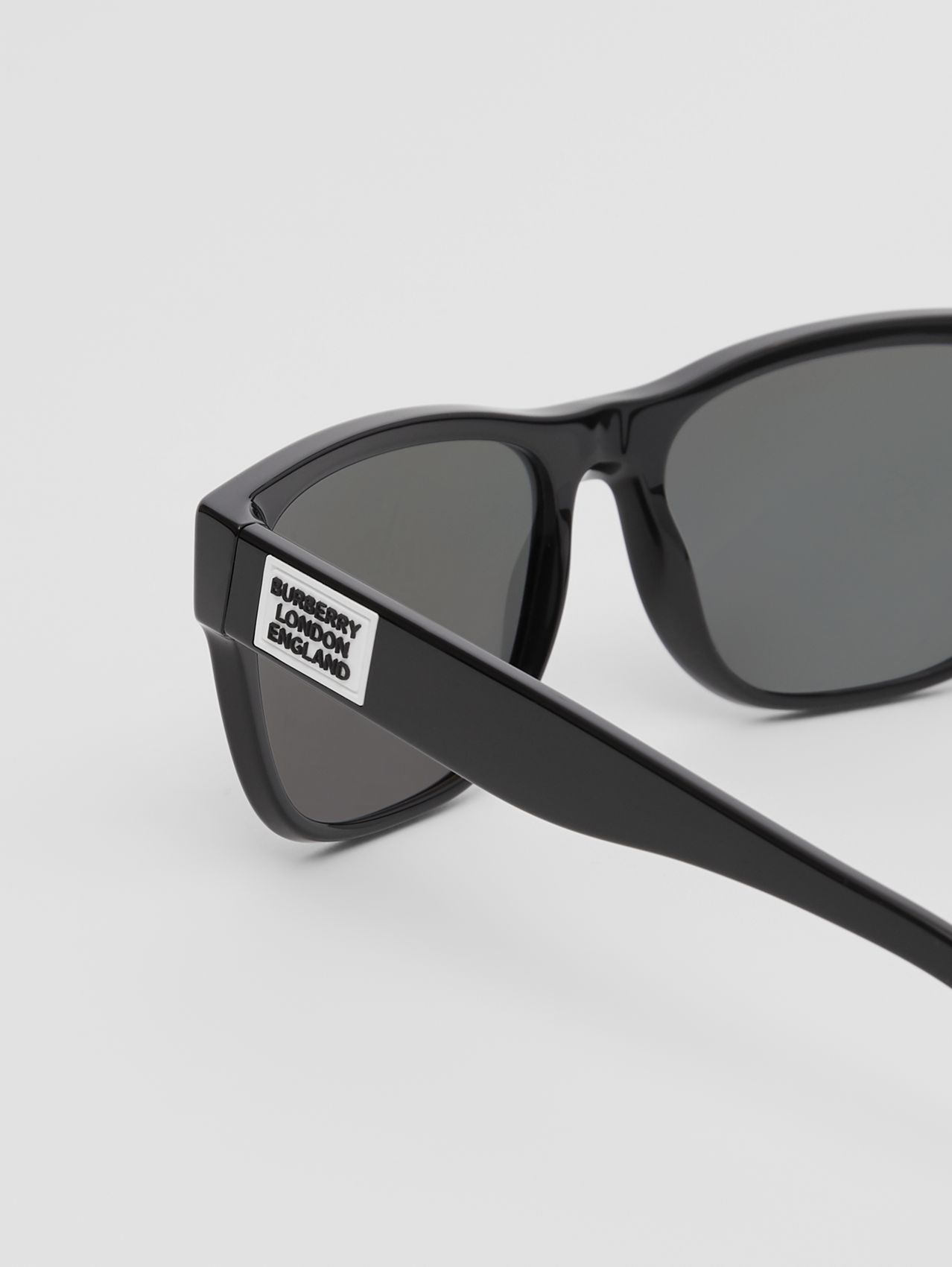 Logo Appliqué Square Frame Sunglasses (Black)