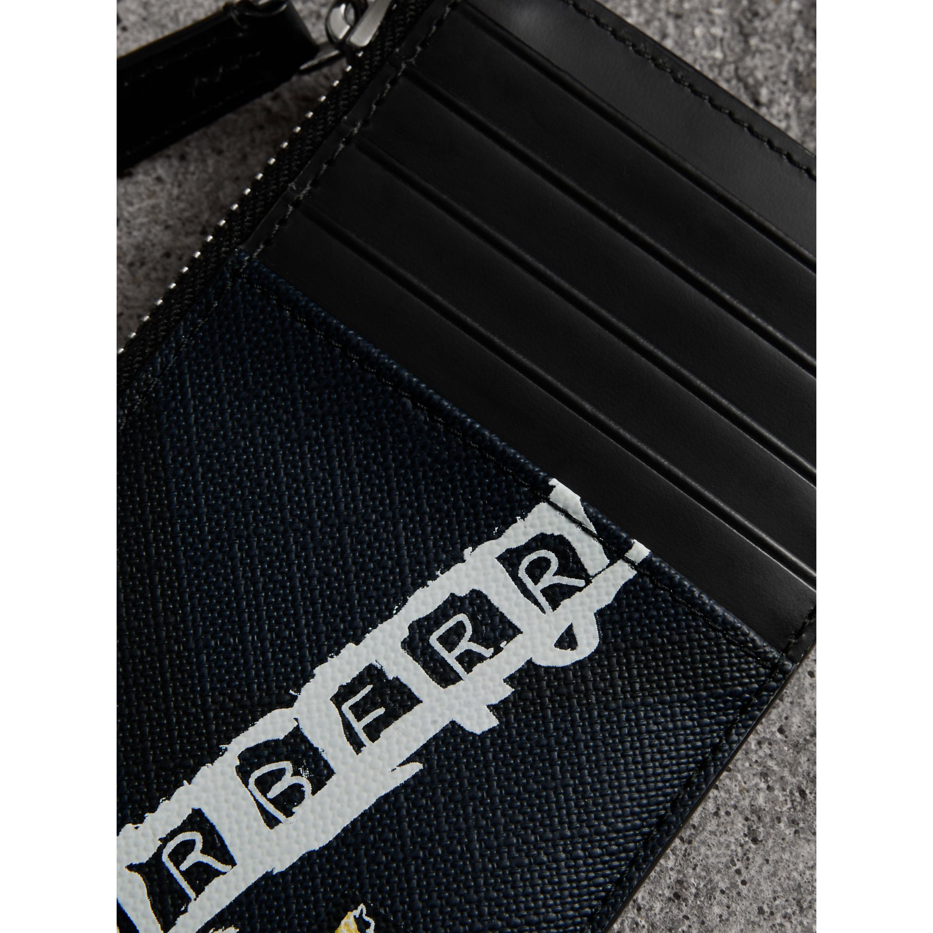 Logo Print London Check Zip Card Case in Charcoal | Burberry Canada - gallery image 1