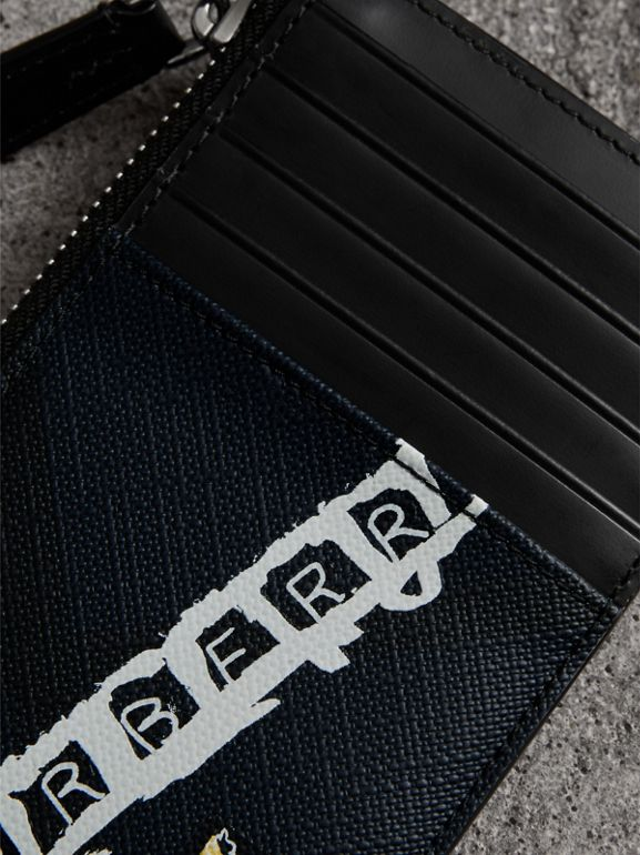 Logo Print London Check Zip Card Case in Charcoal | Burberry Singapore - cell image 1